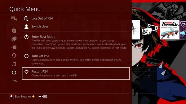 Change PS4 power settings