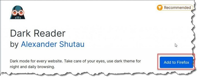 Launch the Dark Reader application in Mozilla Firefox and next select its Add To Firefox option.